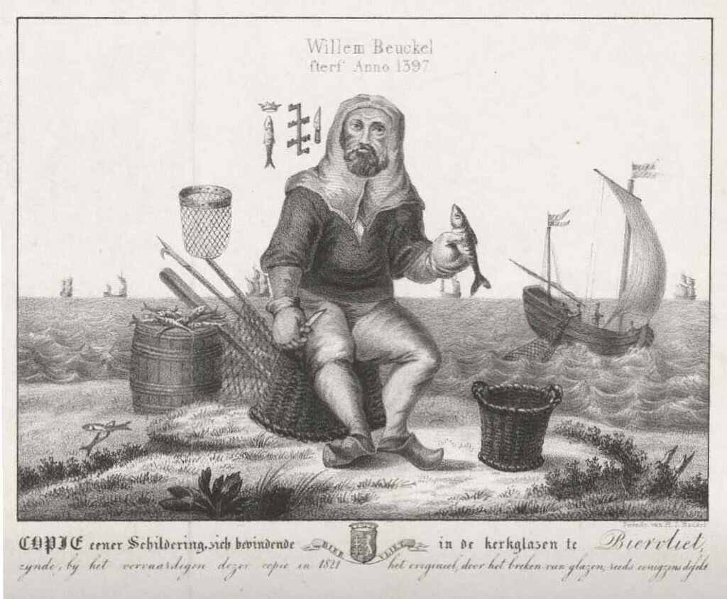 Willem Beukelszoon, as depicted in a lithograph made from his depiction in a church window in Biervliet. By Hilmar Johannes Backer - In the collection of Amsterdam's Rijksmuseum;  http://hdl.handle.net/10934/RM0001.COLLECT.440376 , Publiek domein,  https://commons.wikimedia.org/w/index.php?curid=39849012