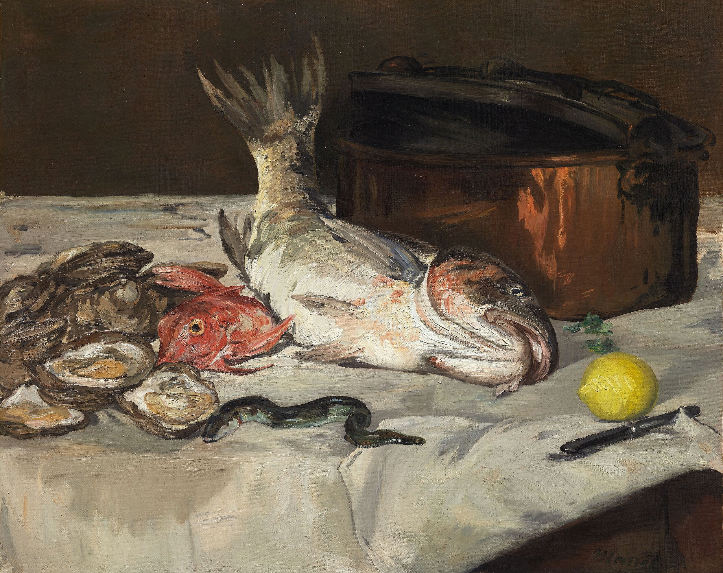 Painting of various fish by Édouard Manet,  https://www.artic.edu/artworks/44892/fish-still-life