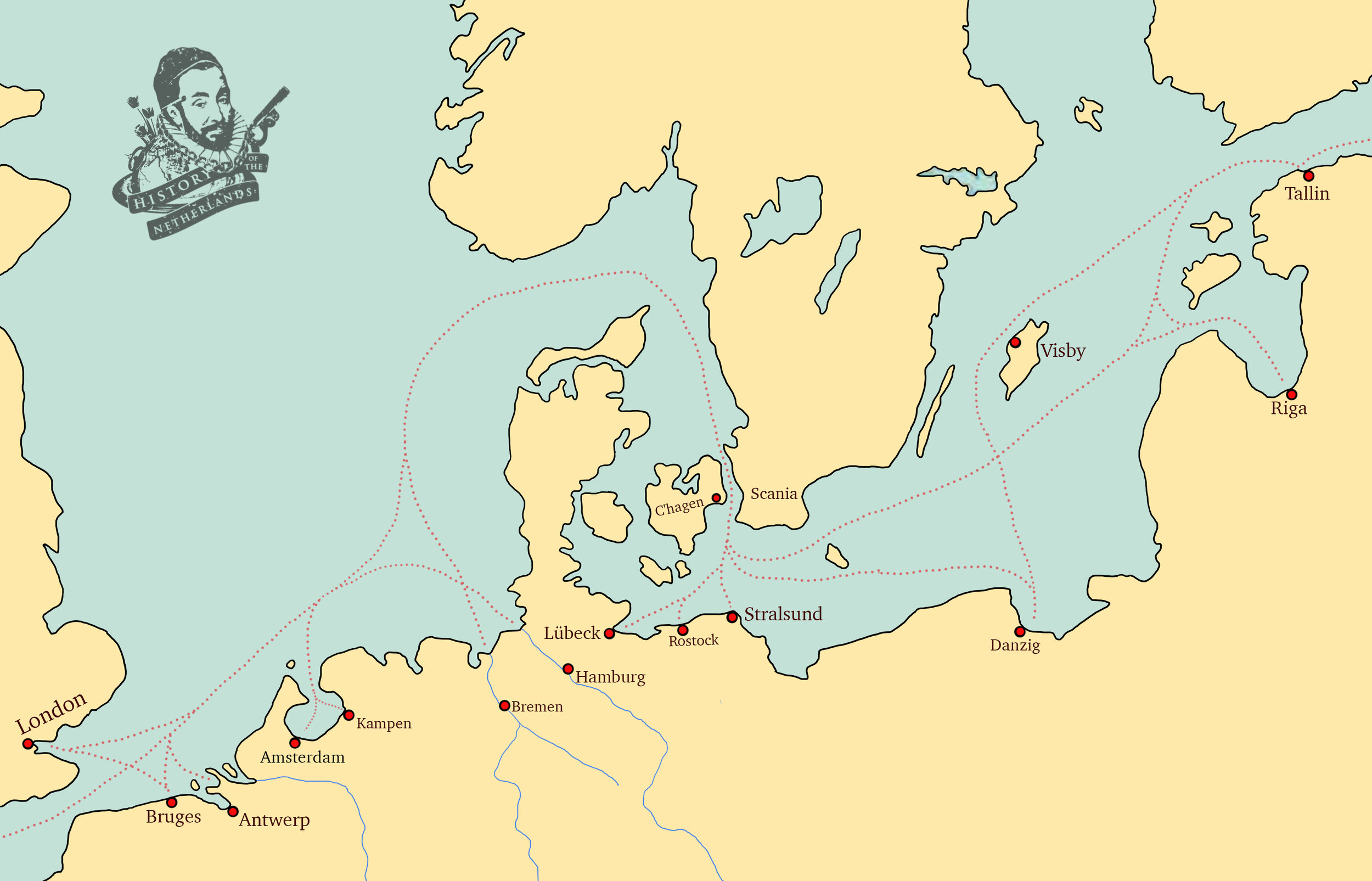 The herring trade in northern Europe 14th century. Map by David Cenzer
