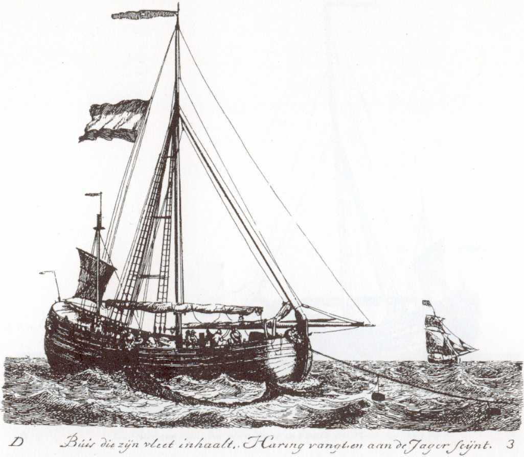Herring busses were seagoing fishing vessels, mostly used by Dutch and Flemish herring fishermen beginning in the 15th century. By Gerrit Groenewegen - J. van den Brink, Rotterdam., Public Domain,  https://commons.wikimedia.org/w/index.php?curid=668409