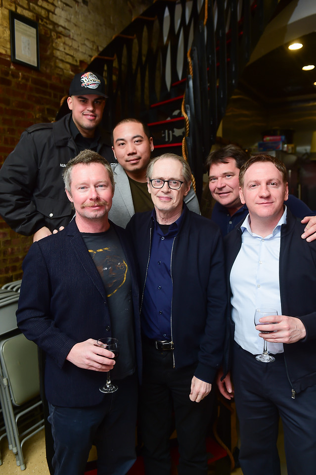 Steve Buscemi with active members of his old firehouse, FDNY Engine 55.  Photo by  Max Flatow