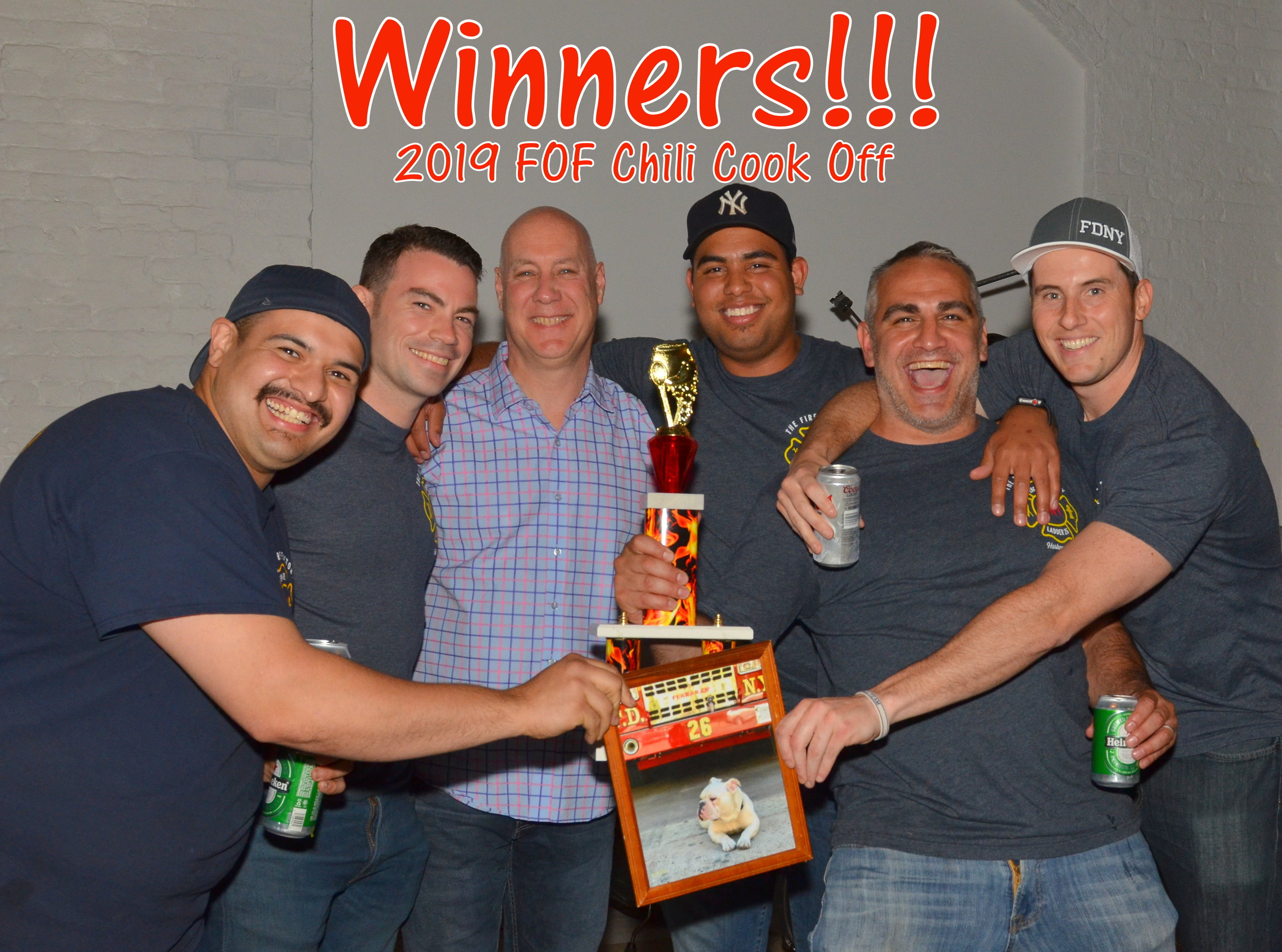 """FDNY Chief Mike Gala with Judges Choice Chili Winners  From left: FDNY Firefighters George Diaz, Tommy Leonard, Jonny Arias, Jason Alonte, and Anthony Bruno of E58/L26 """"Fire Factory""""  Photo by Mike DiBartoloemo"""