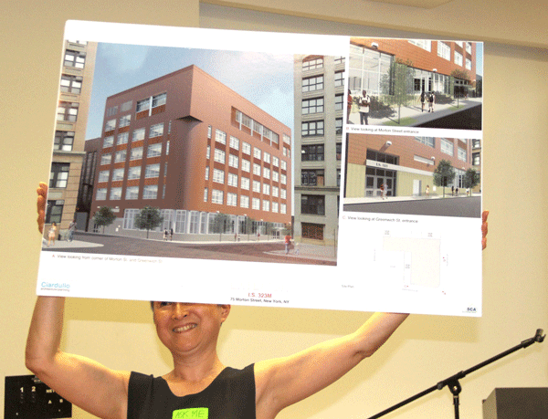 A 10-year journey... - At one of many community meetings, Shino Tanikawa, then President of Community Education Council for District 2, held up a design rendering of the exterior of 75 Morton St.