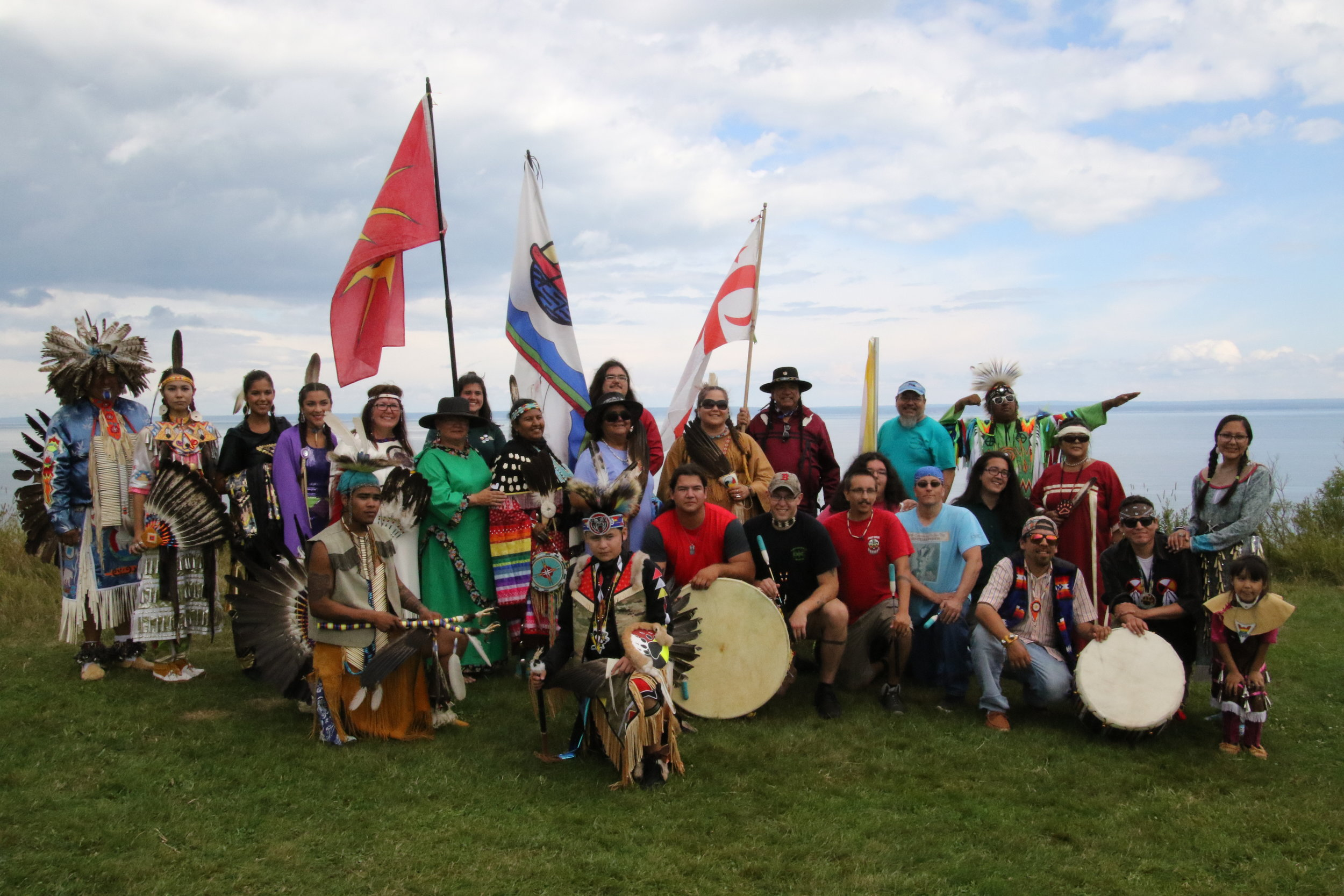 Dancers, drum groups and vendors pose for a group photo during the 2018 All Nations Pow Wow held at Fundy National Park, NB