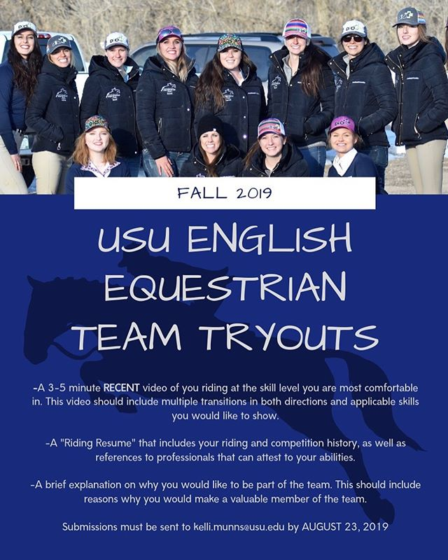 Fall semester is almost here and we are looking for some dedicated riders to join our team!! Videos and resumes are due August 23rd. 🐴😊 #usu #utahstateuniversity #usuequestrianteam #hunterjumper #horses