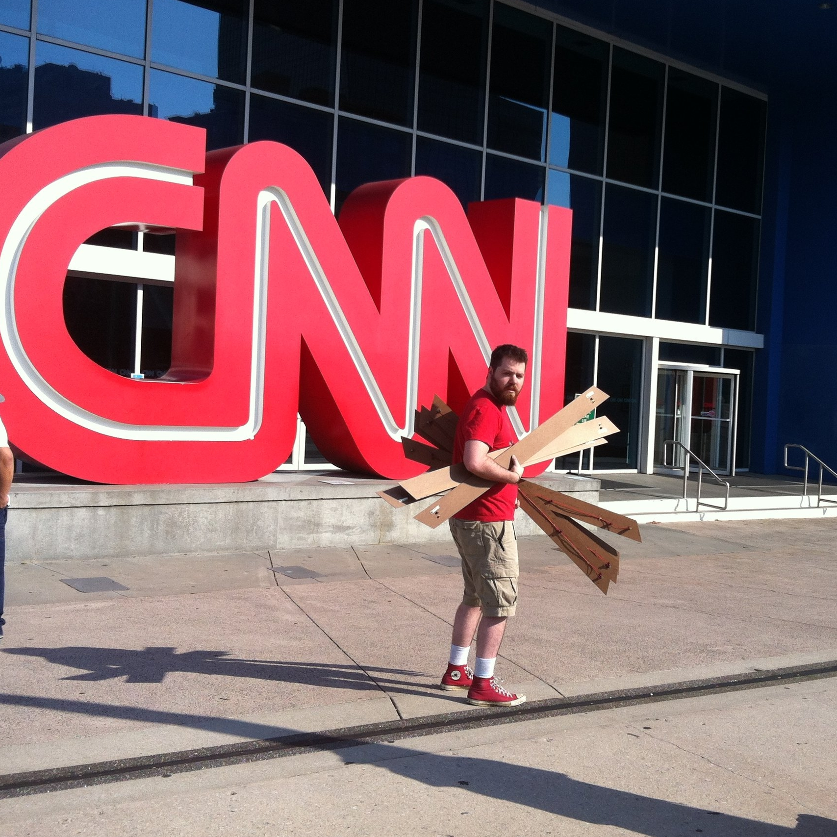 Caught on the way to being installed at CNN