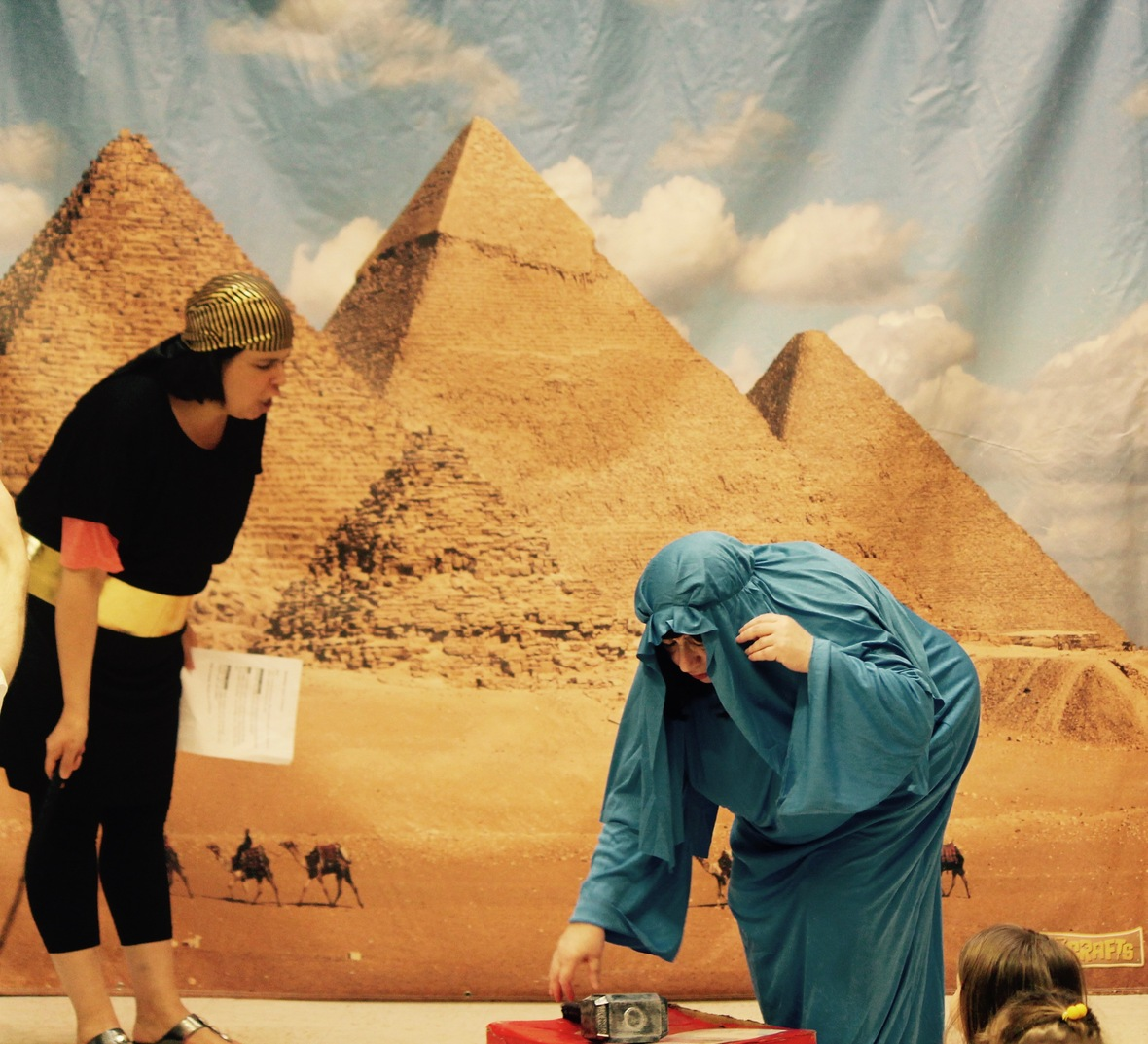 During the Back-to-the Exodus intro, Moses, Pharaoh and other biblical characters come to life as ancient Egypt is smitten with the ten plagues. -