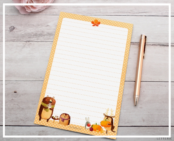 Fall Woodland Animals Letter Writing Paper