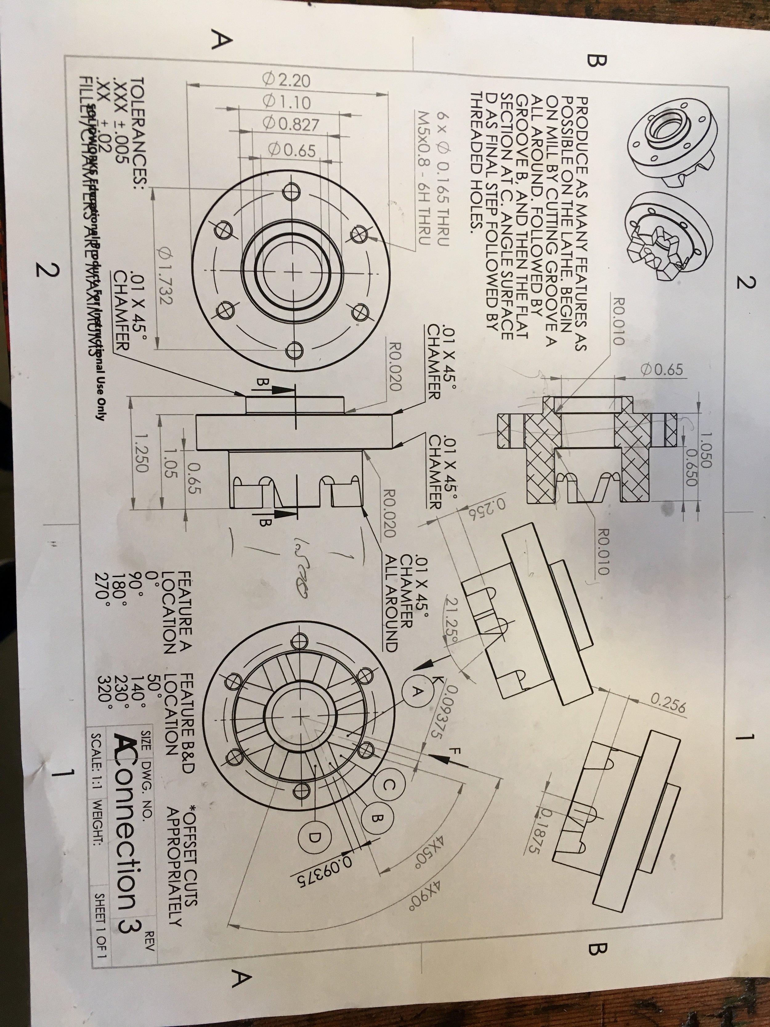Engineering drawings for our reverse-gearing mechanism