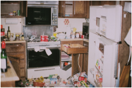 Figure 2: Damage to a kitchen observed after the 1994 earthquake. Source: FEMA 74, see link below