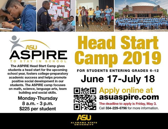 ASPIRE Head Start Summer Camp registration is open now! Deadline to apply is May 3rd. Use promo code: aspire1 to make your payments in installments. Registration link is in our bio! 🐝