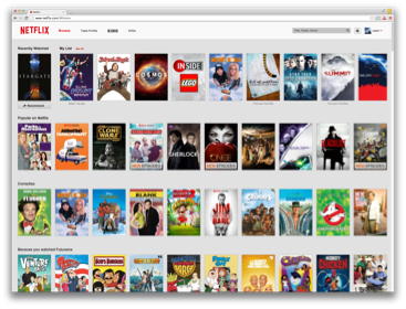 An example of a personalized Netflix homepage.