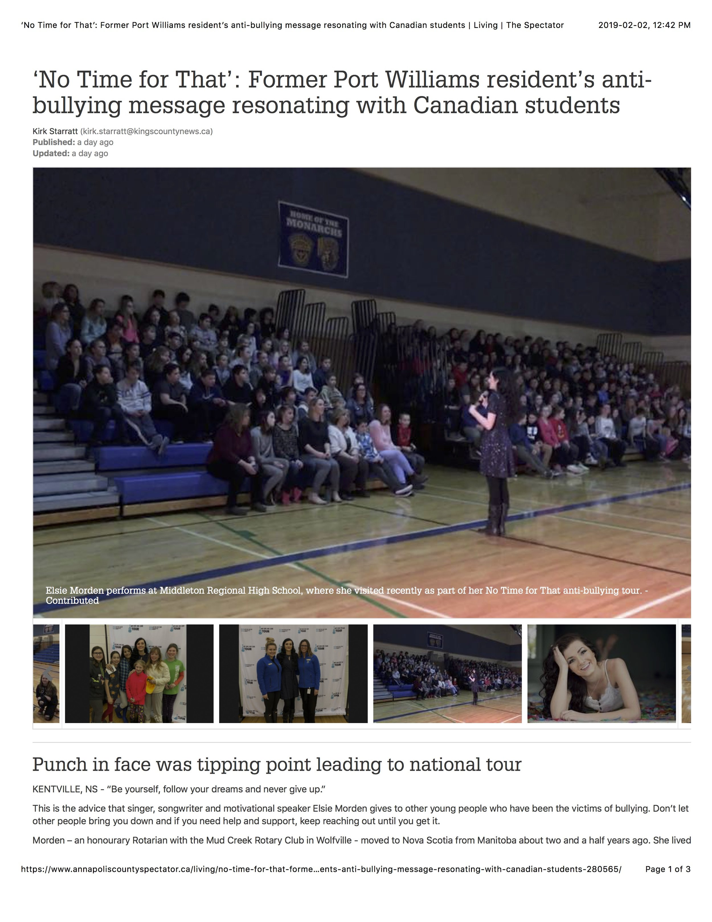 Page 1 'No Time for That': Former Port Williams resident's anti-bullying message resonating with Canadian students | Living | The Spectator.jpg