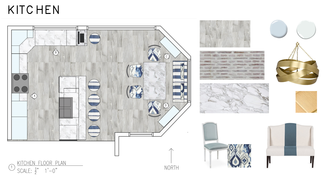 - the concept of this design was tranquility with traditional furnishings with a calming and relaxing palet that consists of faint tints of blue, grey, and white. the space is accessible for aging in place and will incorporate a baker's kitchen, a beverage center tucked under the island, a computer station attached to the cabinets, and shelves hanging over the island.