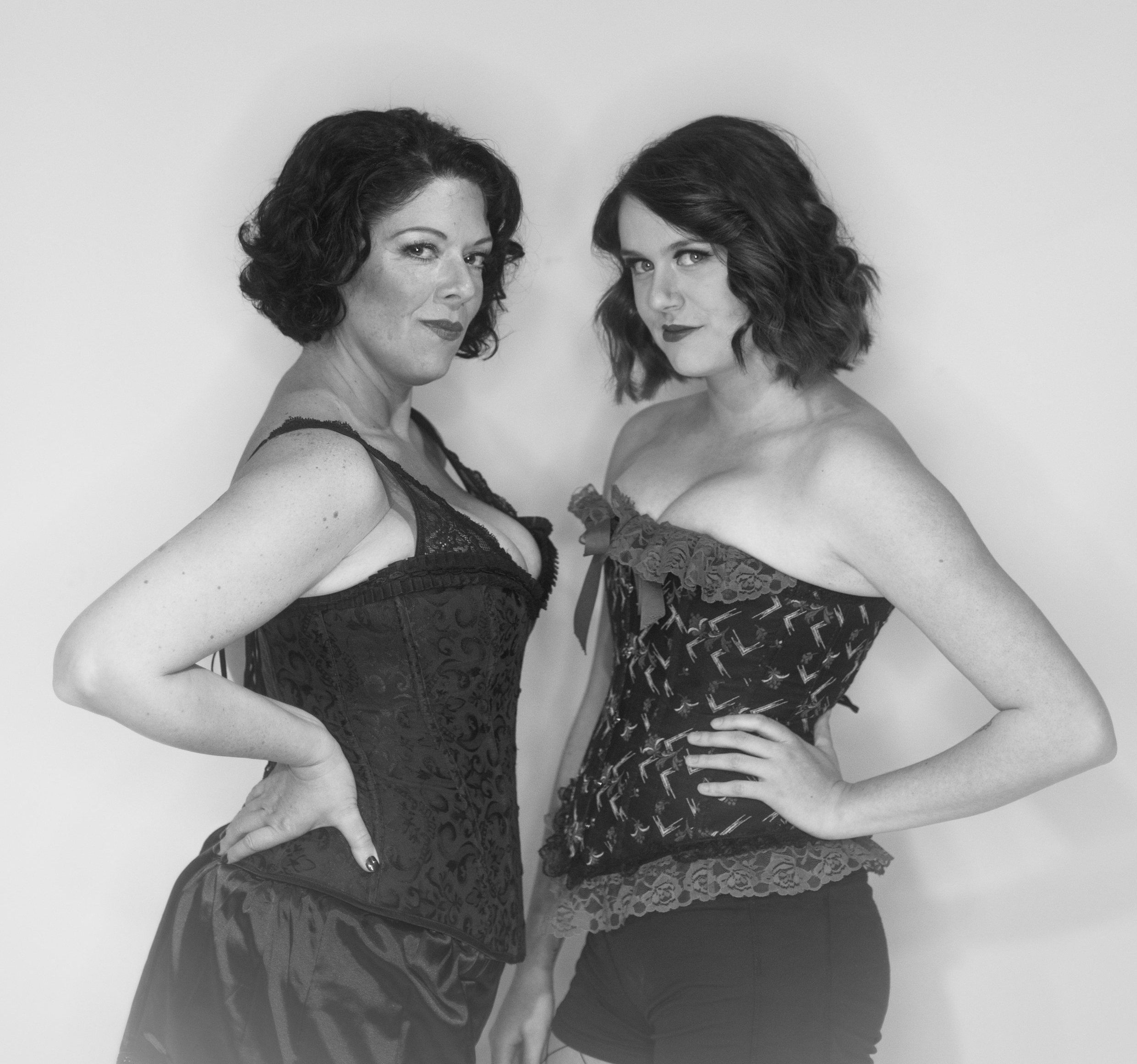 Shannon Edmonston (left) and Emily Bohmer (right) play Velma and Roxie in the upcoming musical, Chicago.