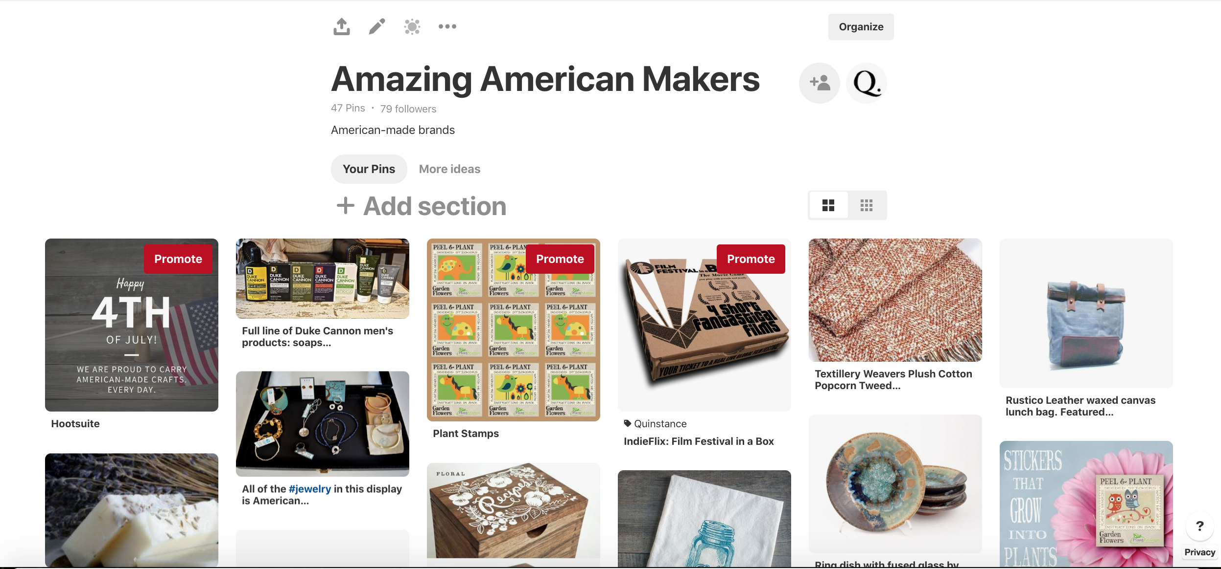 Sample Pinterest board to promote a curated collection of items