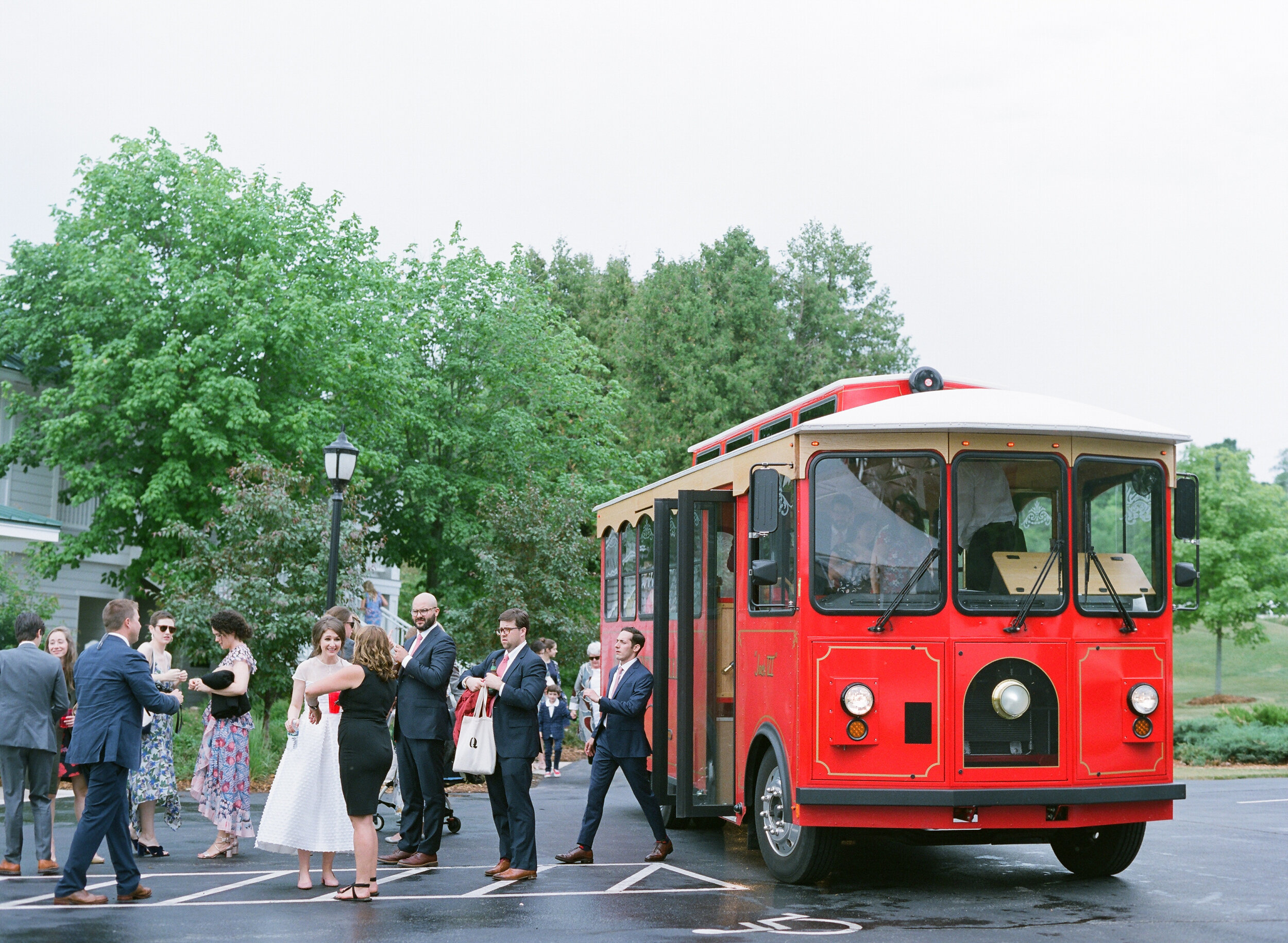 The Door County Trolley - is a reliable way to transport guests, and also makes for awesome photos with the iconic red trolleys.