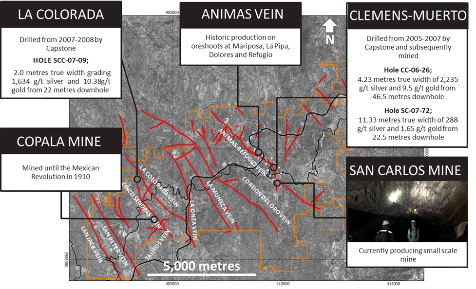 Figure 1:    Panuco district with major veins labelled and selected prospect details.