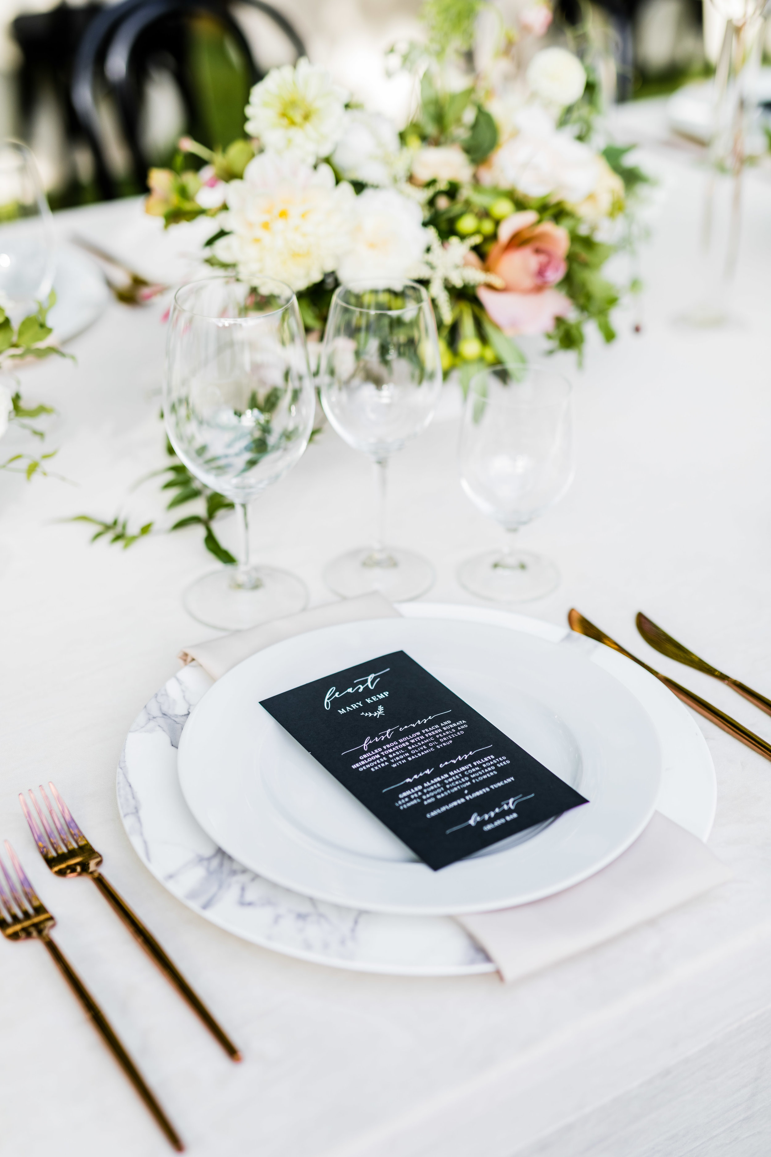 Black Wedding Dinner Menu