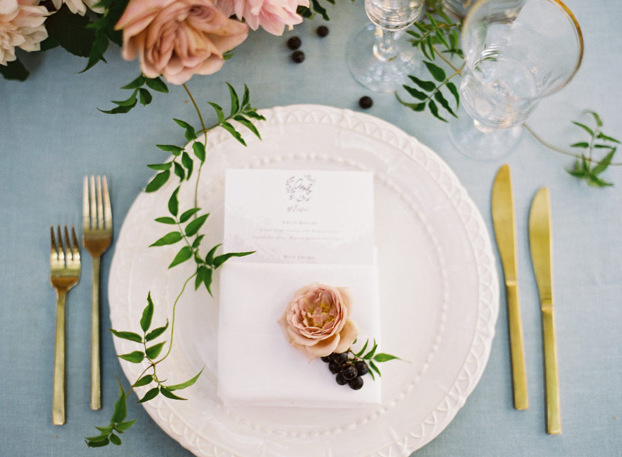 Wedding Place Setting with Rose
