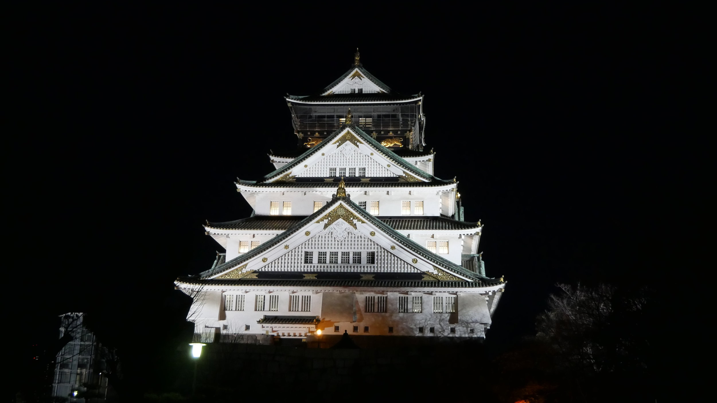 OSAKA CASTLE - How gorgeous is the lit up castle at night? Unfortunately for us, we were unable to go inside of the castle as we got there too late and the touring was closed for the evening. But we did explore in the moats that surrounded the castle as well as the beautiful park just outside.Definitely look up the touring times if this is something that you are interested in seeing. If I were to do it over again, I would've planned to tour inside first and then take these beautiful night pictures afterward.