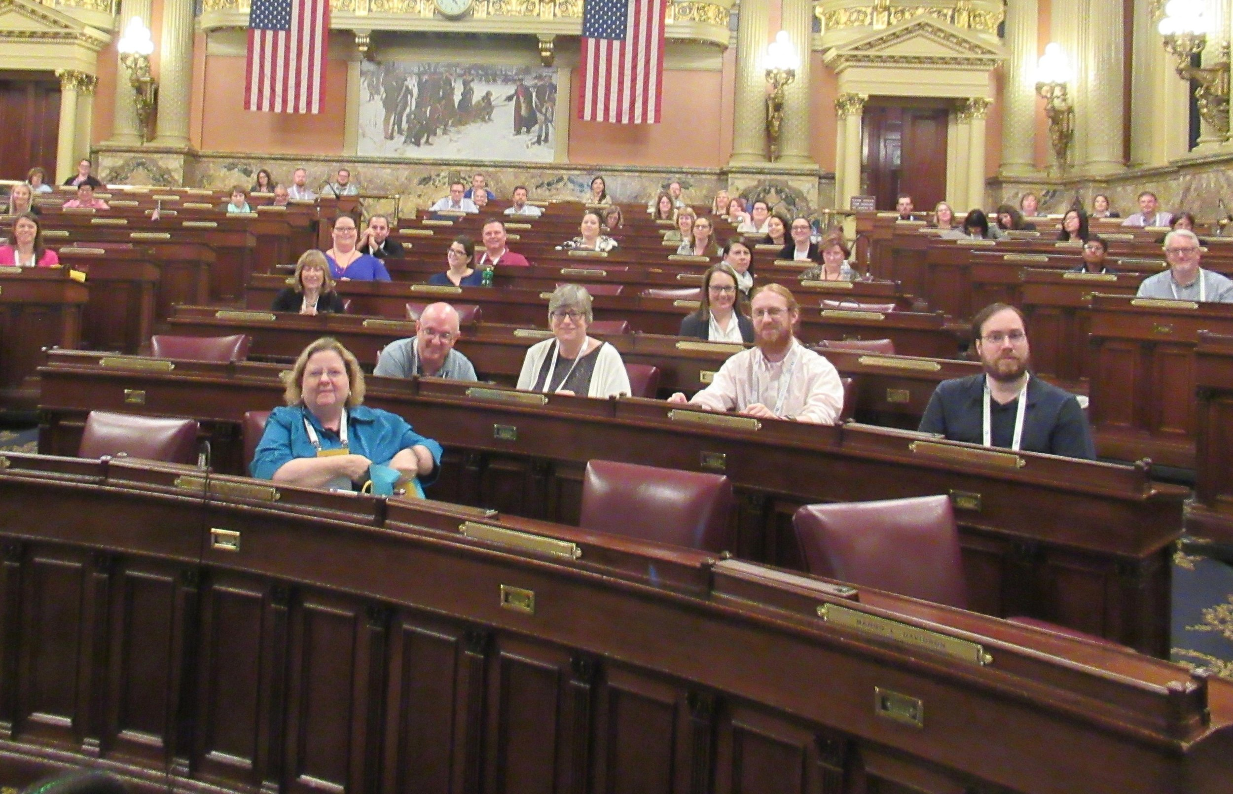Not theater or classroom - but congressional seating! Yes, this was my room for a day. It was cool. I love my job!