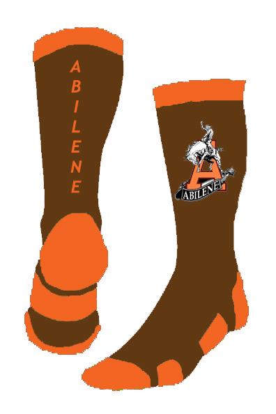 Abilene KS Cowboys Brown White Orange Socks 102817.jpg