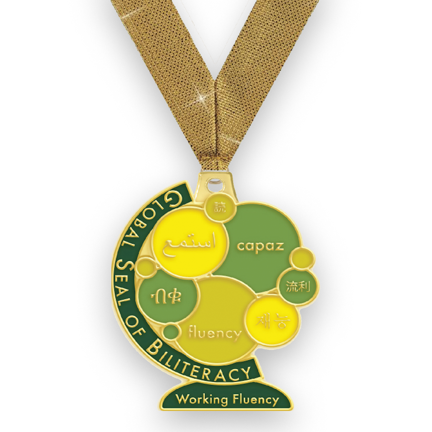 Add some excitement to your Global Seal of Biliteracy award presentations. These high-quality, die-cast enameled medals are available to serve as a unique recognition for anyone who qualified for the Global Seal of Biliteracy with Working Fluency. They can be given together with our FREE Global Seal of Biliteracy certificate at a special recognition event and worn at graduation ceremonies to further honor your students.  The Working Fluency medal has a width of 1.75 inches, a length of 2 inches and comes with a gold neck strap.    *Medals can only be ordered for qualifying Global Seal certificate awardees and in the same quantities. After awardees have been processed you will receive a link to purchase.
