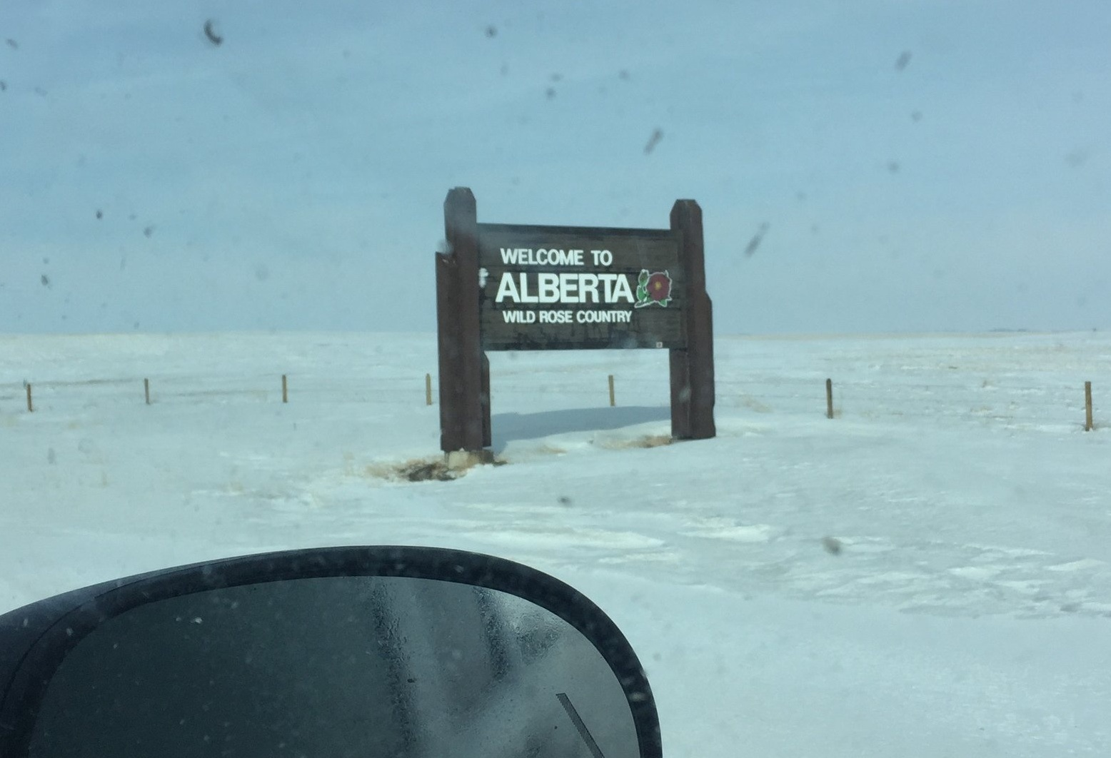 The Canadian province of Alberta's otherwise invisible border with Saskatchewan, where Pest Control Officers work to prevent rats from infiltrating the province from outside.