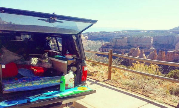 Camping near a trail head in the Colorado National Monument