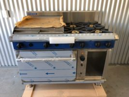 Blue Seal Gas Range G58B Convection Oven – New   $7,000.00 + GST   Gas & 10 Amp Plug Required for Convection Fan – 4 x Open Burners – 600Mm Griddle – Gas Convection Oven  Dimensions : 1200W x 815D x 1050H