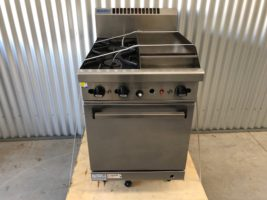 Waldorf 600 Gas Range Static Oven – Used   $2,300.00 + GST   Gas Range – LPG – 2 x Open Burners – 300 Gas Griddle – Gas Static Oven  Dimensions : 600W x 815D x 1050H