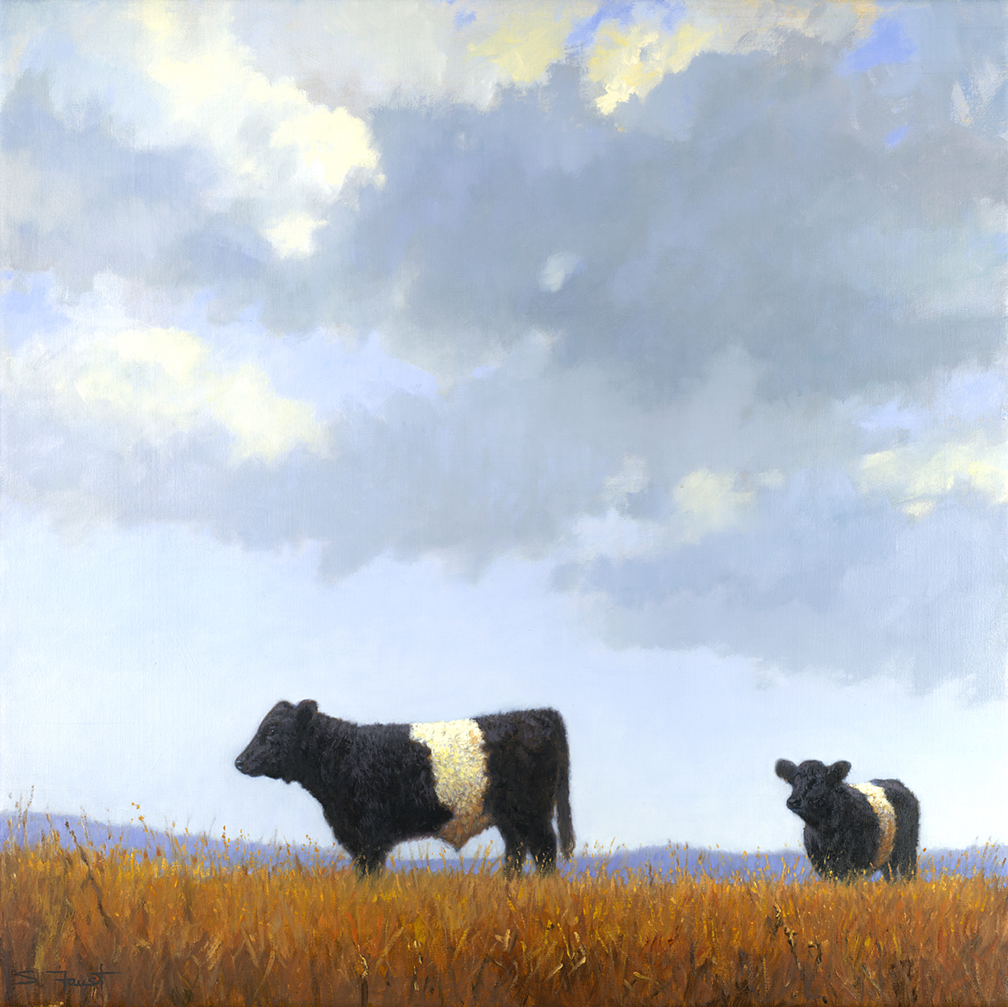 "Pair of Belties  36""x36"" oil"