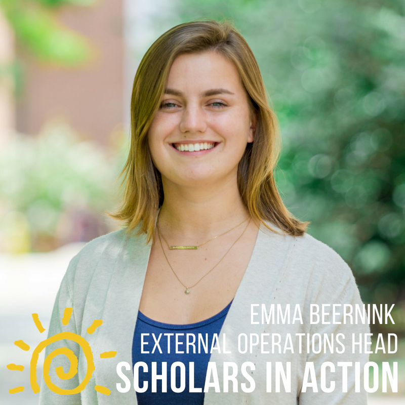 Emma Beernink - I am a Civil Engineering student with a minor in History. Outside of my studies, I am a Weight/Fitness staff and Formal Planning committee member at Eppley Recreation Center. I also worked with my Scholars program as a Fundraising Coordinator and a Peer Mentor. I am so excited to work with SIA because Scholars helped shape my first years at the University of Maryland, and community outreach and sustainability are two things that I hold close to my heart -- I can't wait to give back to Scholars!