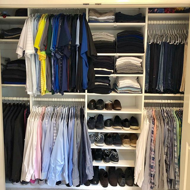This guy is ready for work and play! . . . . . #spacelift #organized #luxurydesign #modernliving #easyliving #simplify #declutter #homesweethome #interiors #inspo #neatandtidy #harteyourhome #walkin #lineduplife #closetorganization #closetgoals #mensfashion #mensclothes #suitstyle #golfshirts