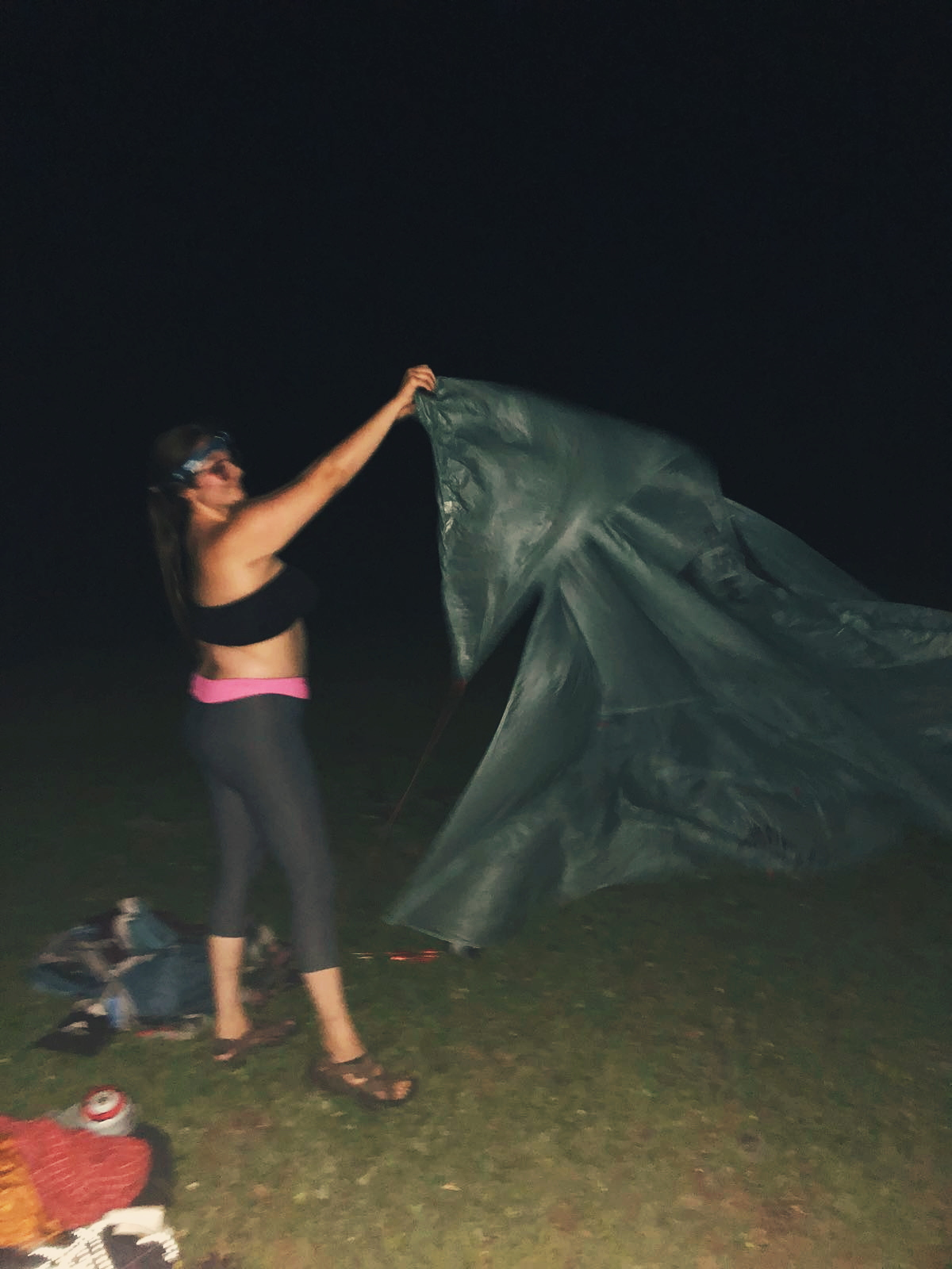 Christina gray grayt in north carolina setting up a tent in the mountains