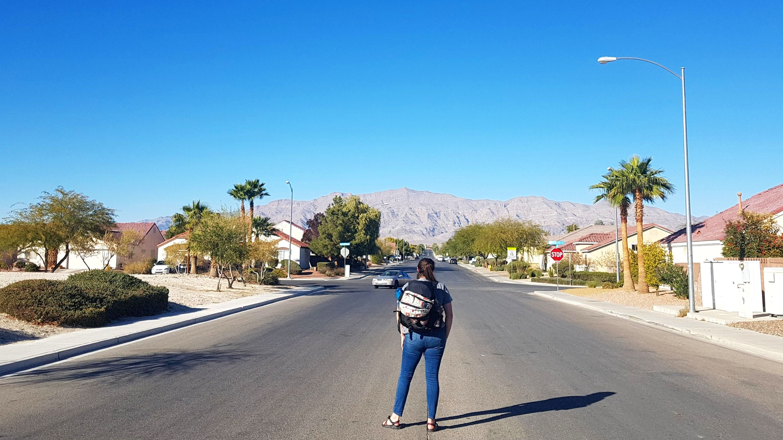 Walking to the store to buy Justins Nut Butter packets from my couchsurfing hosts house in Las Vegas, Nevada.
