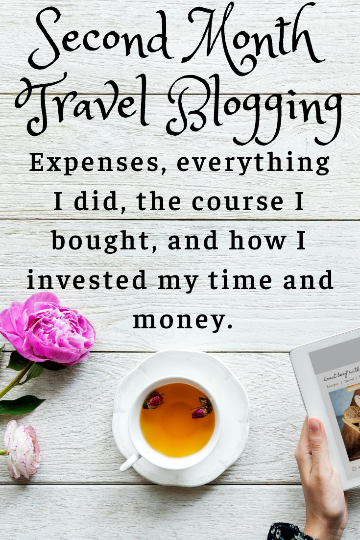 Second Month Travel Blogging tea flowers and tablet
