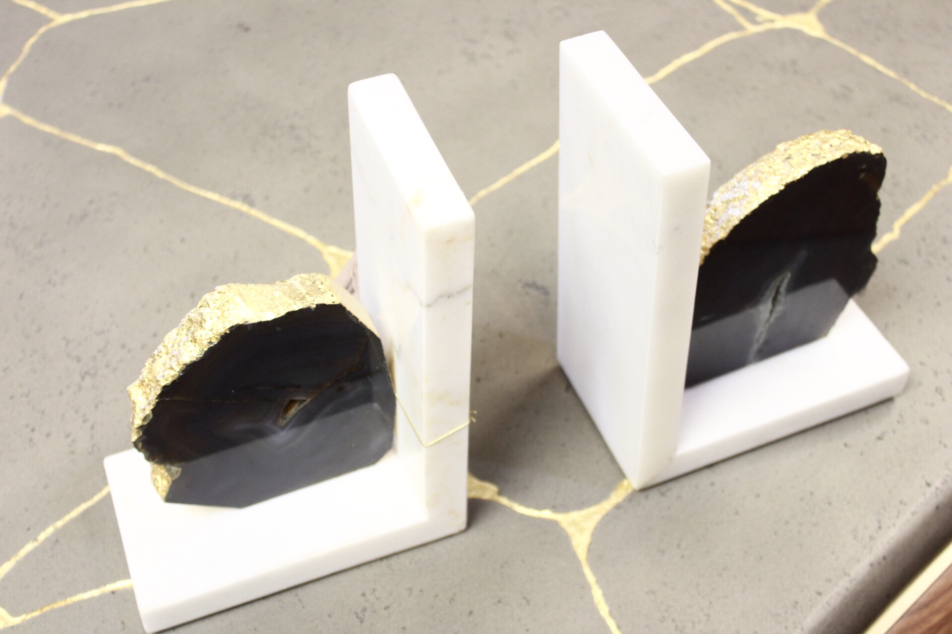 These geode bookends are a trendy way to keep things organized.