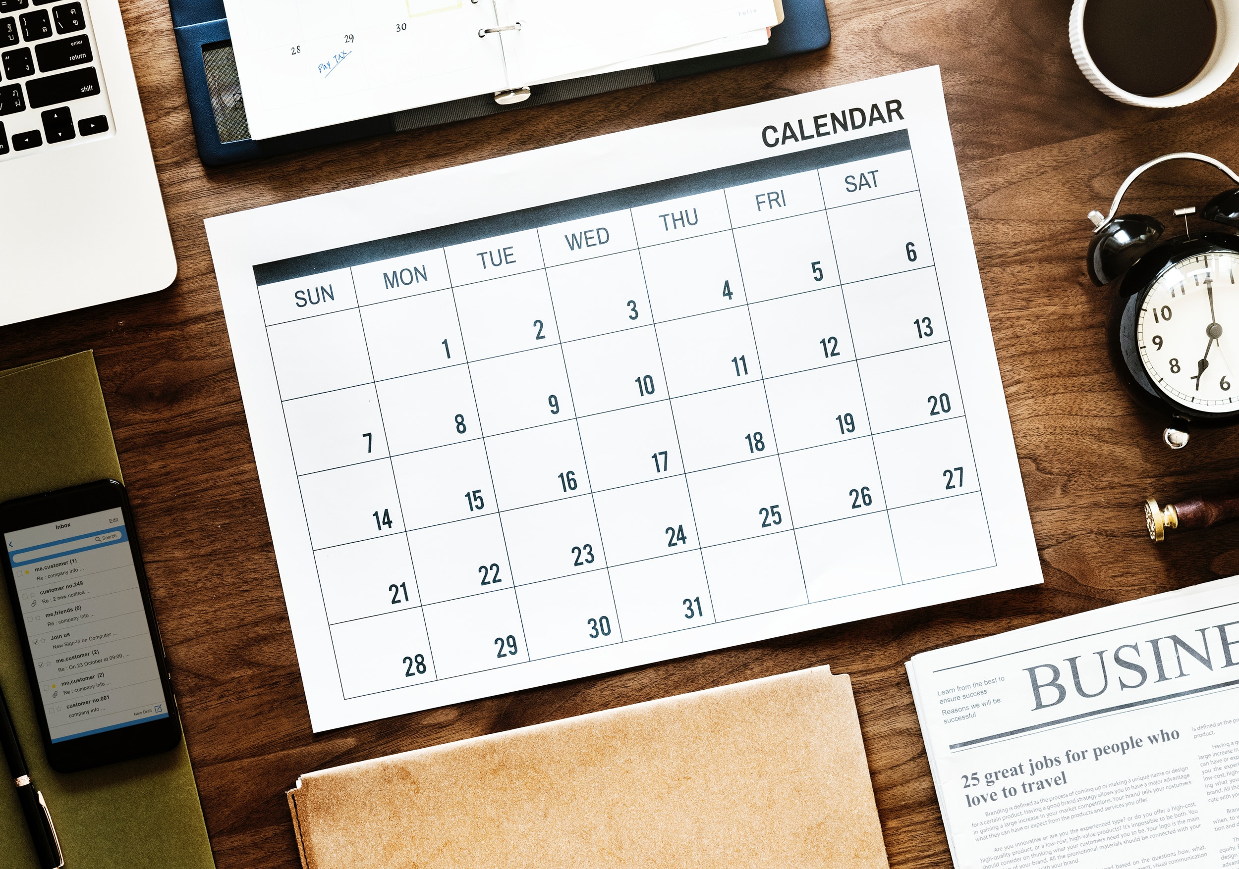 Photo: https://www.pexels.com/photo/flat-lay-photography-of-calendar-1020323/
