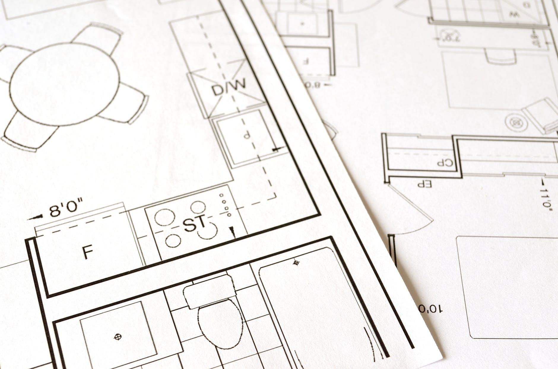 Photo: AutoCAD renderings, from https://www.pexels.com/photo/architect-architecture-blueprint-build-271667/
