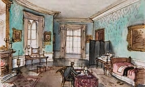 Photo: https://commons.wikimedia.org/wiki/File:Rex_Whistler_-_Sketch_of_his_interior_Design_1936.jpg