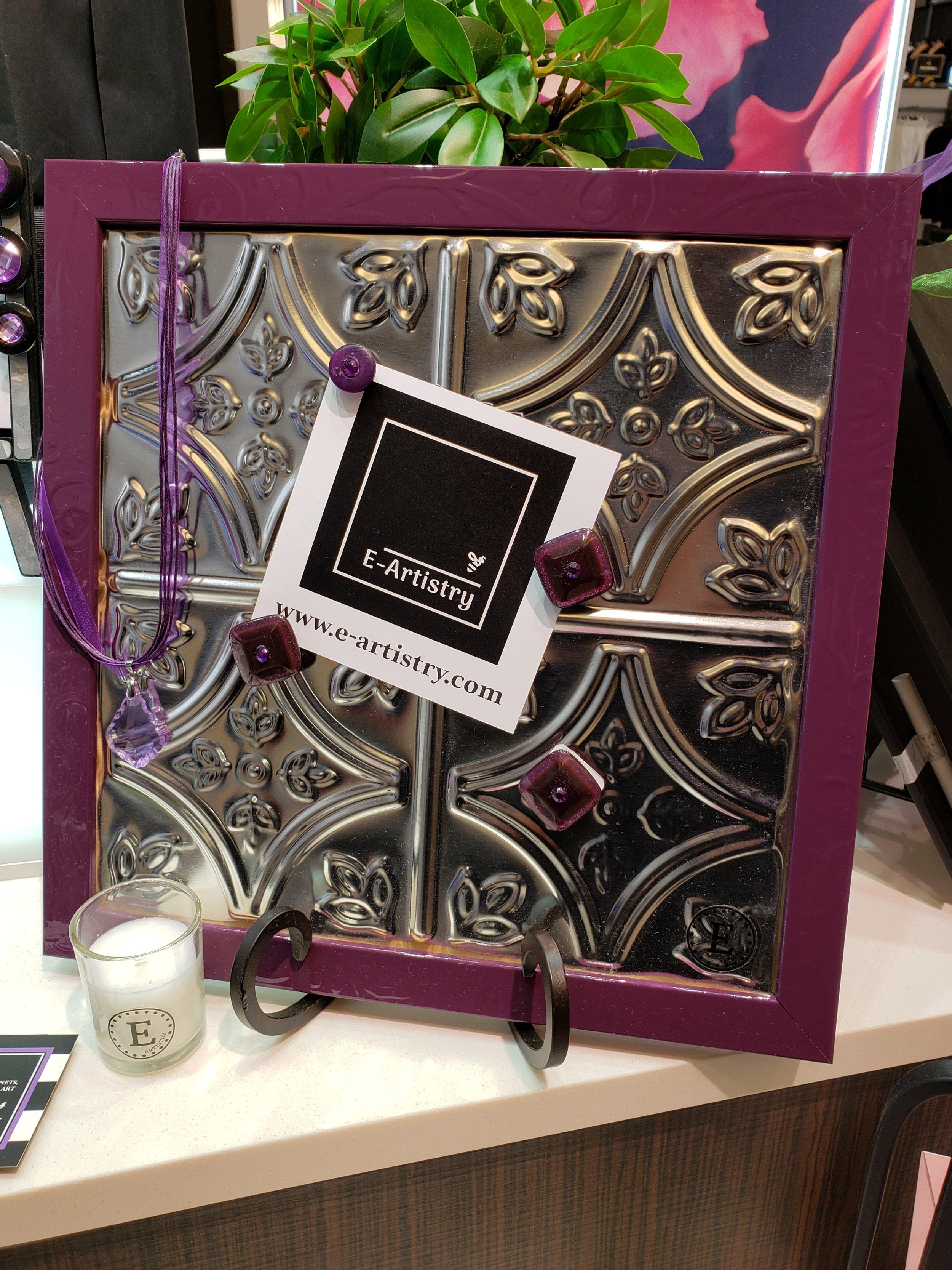 Pressed Tin Magnetic Board Purple Frame.jpg