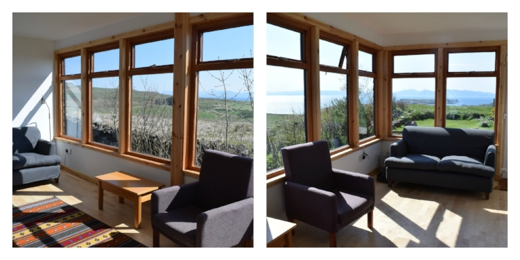 The sunroom is the quiet room on the retreat and a great place to chill out and watch the ever changing view