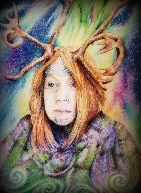 """Portrait of me by author & artist Louise Hewitt. Louise entitled this piece """"She Who Wears the Antlers' not knowing that my name in the 'real' world is 'She Who Wears Antlers'"""