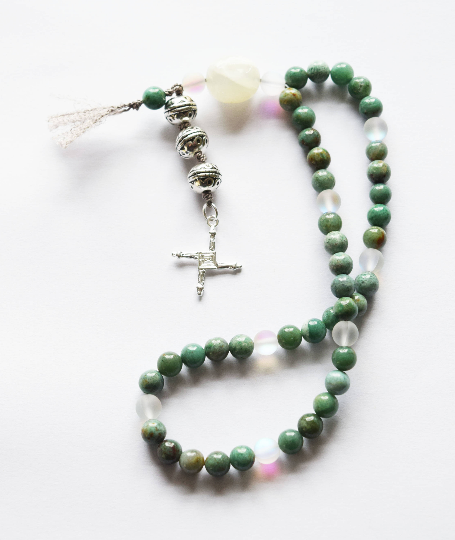 Celtic Soul Prayer Beads with Brighid's Cross designed by Jude Lally