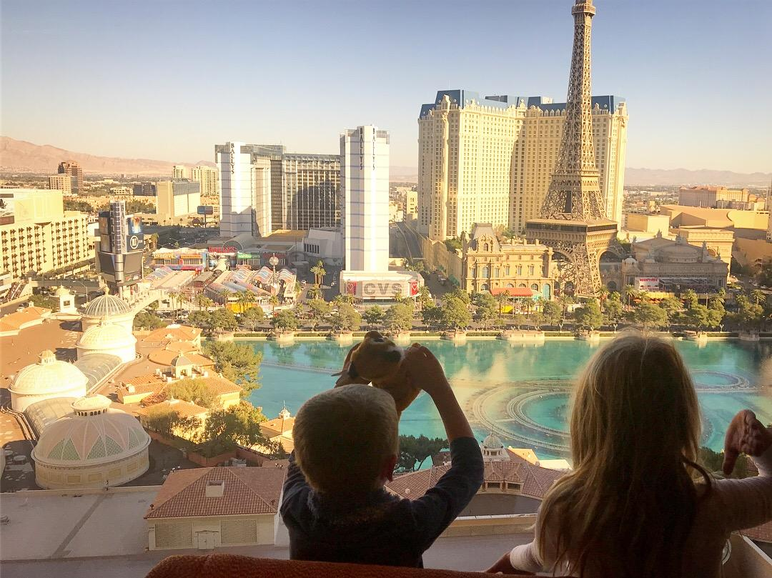 Mstr L picked up this cute teddy on the way to The Bellagio, Las Vegas, Nevada, USA.  Credit:  @kidsgoplaces