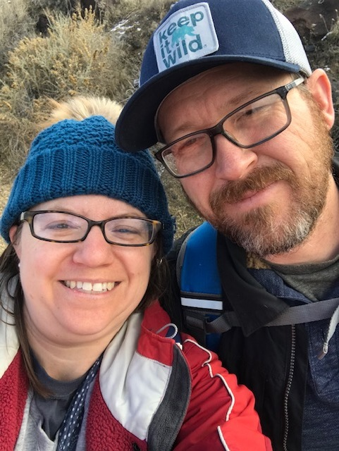Couple on a hike outdoors selfie in Celebration Park