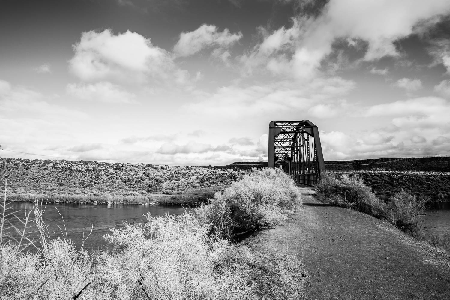 Picture of historic bridge at Celebration Park black and white