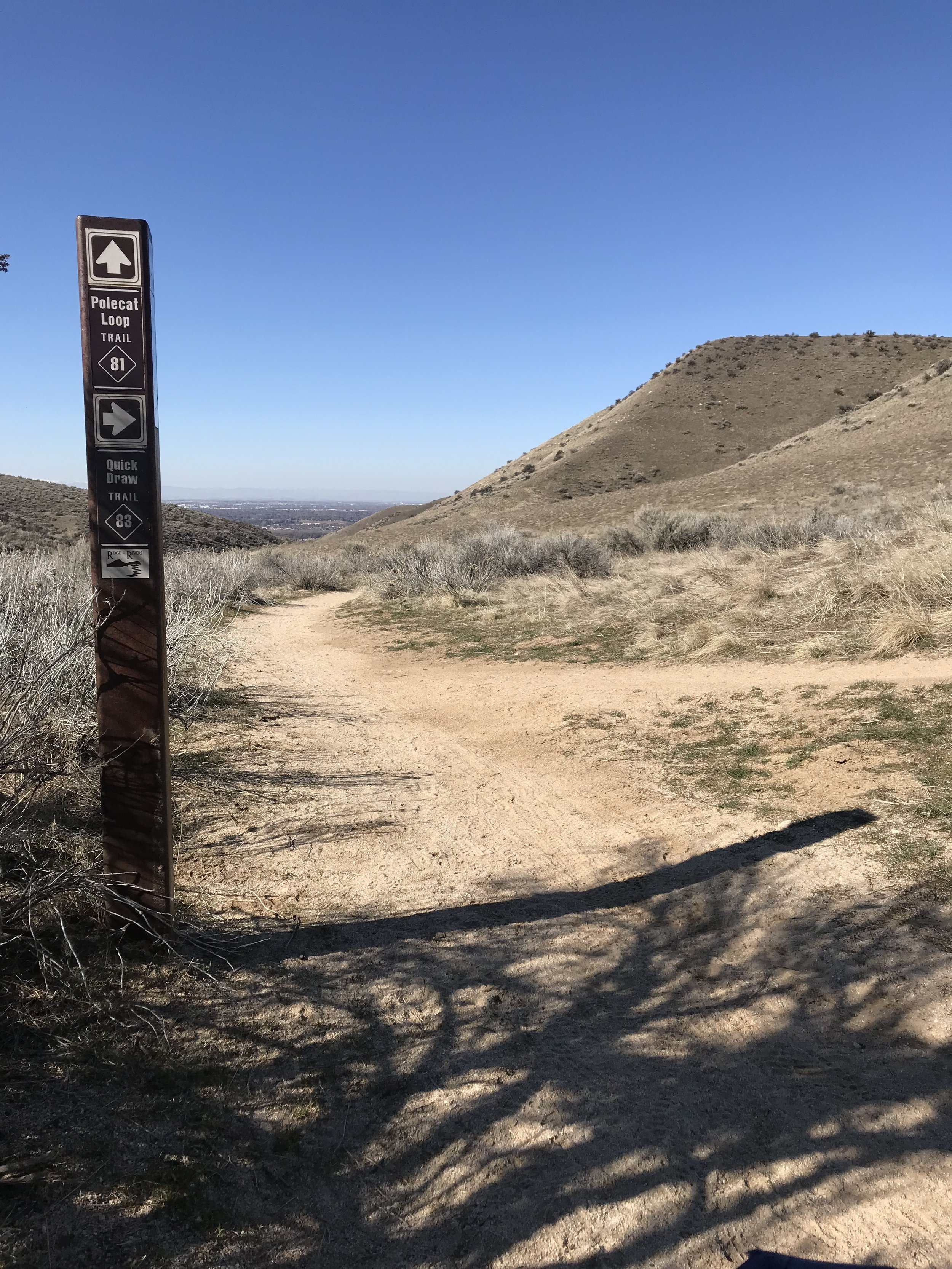 Picture of polecats trail post sign and hills overlooking Boise City